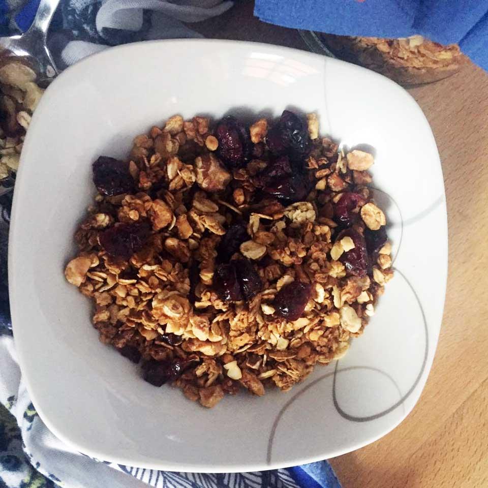 Ein sehr variables Nussmix Müsli mit Cranberries ohne Milchprodukte - www.chiliblueten.com