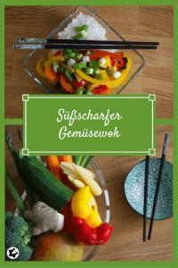 Süßscharfer Gemüsewok mit verschiedenem Gemüse. Laktosefrei Kochen