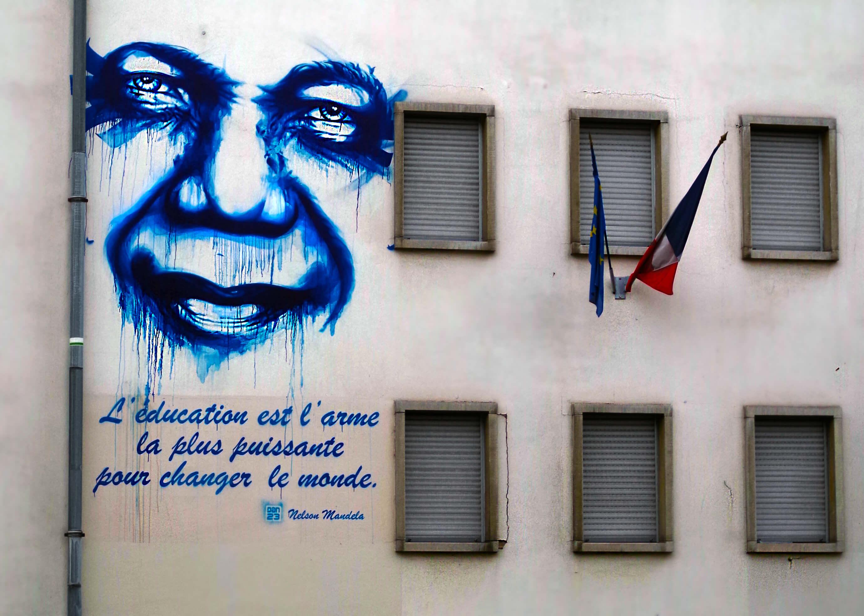 Nelson Mandela Spruch an Hauswand in Staßburg
