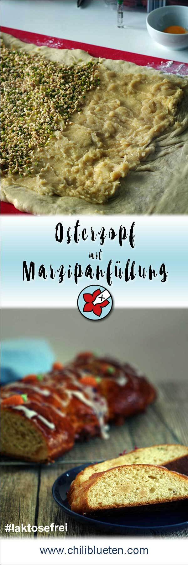 Saftiger Osterzopf aus Hefeteig mit Marzipan, Mandeln und Pistazien. Perfekt für #Ostern. #laktosefrei #glutenarm   chilibluetendotcom