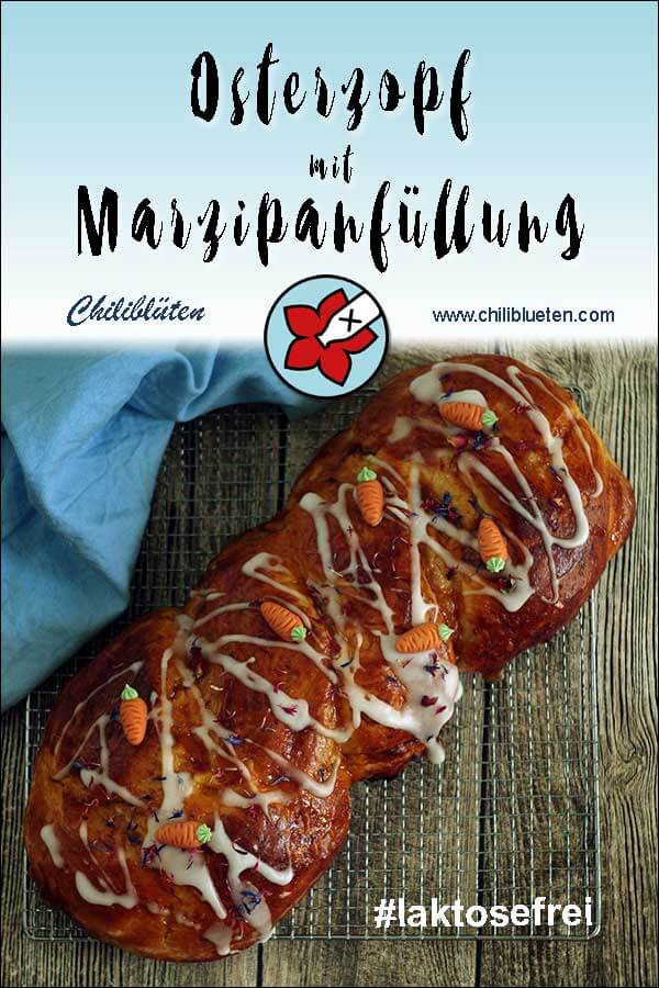 Saftiger Osterzopf aus Hefeteig mit Marzipan, Mandeln und Pistazien. Perfekt für #Ostern. #laktosefrei #glutenarm | chilibluetendotcom