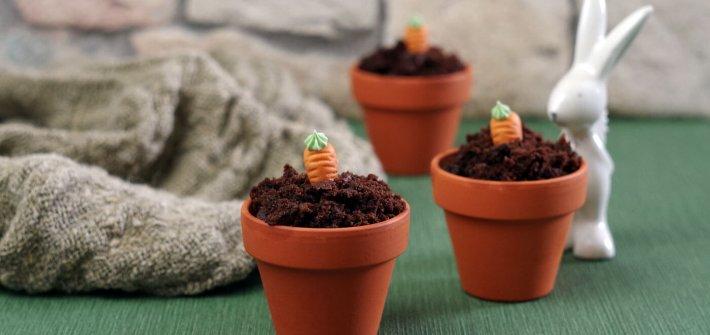 Schokoladenmuffins mit Karotte im Blumentopf. Perfekt für #Ostern. #laktosefrei #glutenarm | chilibluetendotcom