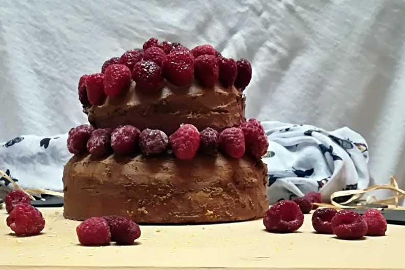 Naked Cake mit Schokocreme und Himbeeren. #laktosefrei | chilibluetendotcom