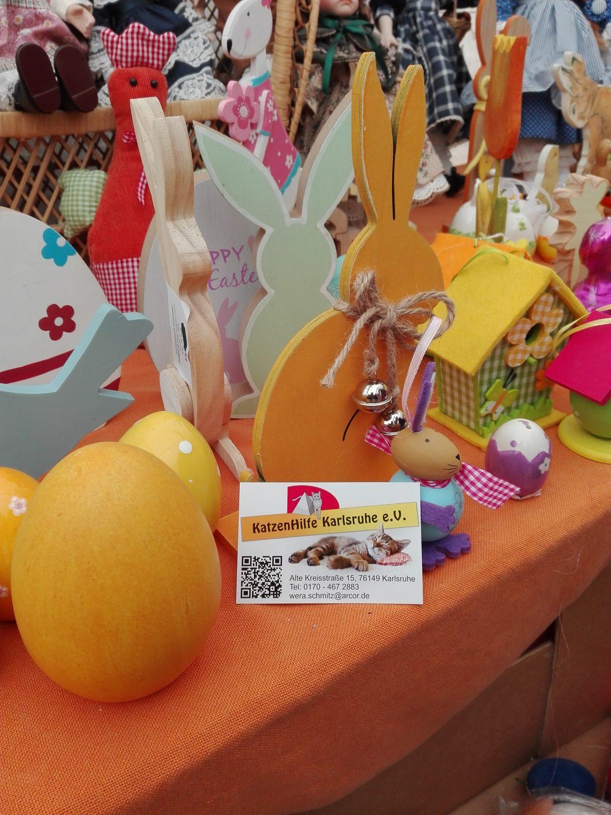 Osterdeko beim Frühlingsmarkt der KatzenHilfe Karlsruhe   chilibluetendotcom
